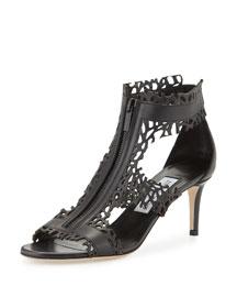Meagan Laser-Cut Zip-Front Sandal, Black