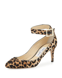 Helena Leopard-Print Calf Hair Ankle-Strap Pump, Natural