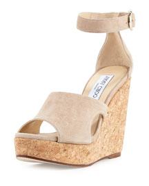 Neela Cutout Suede Cork Sandal