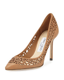 Romy Laser-Cut Leather Pump, Canyon
