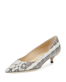 Amelia Snakeskin Kitten-Heel Pump, Natural Gray/Black