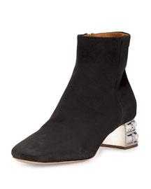 Suede Jewel-Heel Ankle Boot