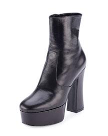 Leather Candy Platform 125mm Boot, Black