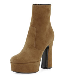 Candy Suede Platform 125mm Ankle Boot, Tan