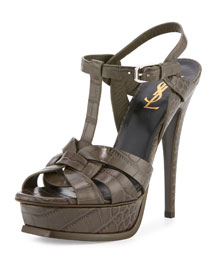 Tribute Croc-Embossed Sandal, Bronze Gray