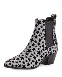 Star Rock Glitter Chelsea Boot, Platinum/Black