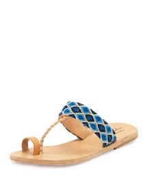 Dimitra Woven T-Strap Sandal, Blue/White