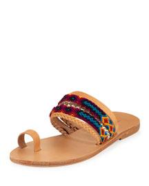 Daphne Woven Toe-Ring Flat Slide Sandal