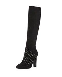 Crystal-Embellished Tall Suede Boot, Black (Noir)
