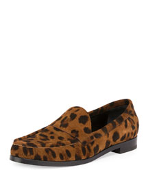 Hardy Printed Suede Loafer, Leopard
