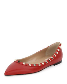 Rockstud Leather Ballerina Flat, Rosso