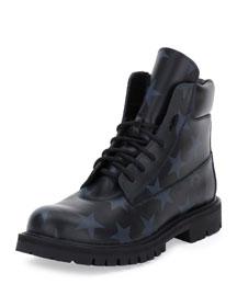 Hologram Stars Leather Combat Boot, Black/Marine