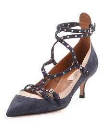 Love Latch Ankle-Strap Kitten-Heel Pump