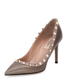 Rockstud 85mm Pebbled Leather Pump, Sasso/Poudre