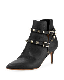 Rockstud Leather Ankle Bootie, Black (Nero)