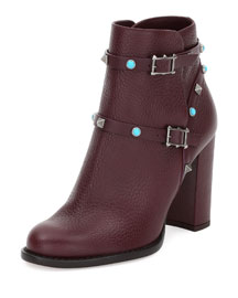 Rockstud Rolling 100mm Ankle Boot, Rubin