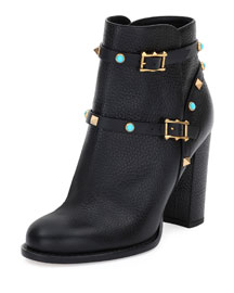 Rockstud Rolling 100mm Ankle Boot, Black