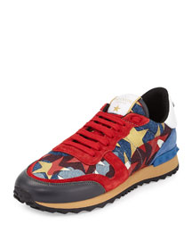 Rockrunner Star-Studded Leather Sneaker, Multi