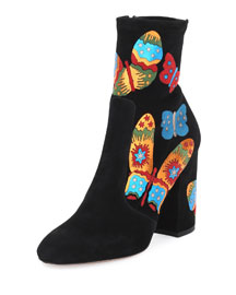Butterfly Suede 100mm Boot, Black/Multicolor