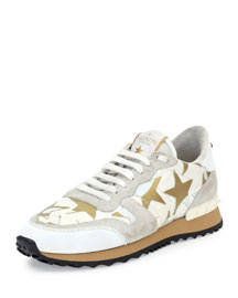 Star-Embellished Leather Sneaker, White (Bianco)