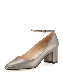 Listony Metallic Ankle-Strap Pump, Anthracite