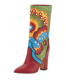 Enchanted Wonderland Leather Boot, Scarlet/Light Blue