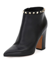 Rockstud Leather Ankle Boot, Black (Nero)