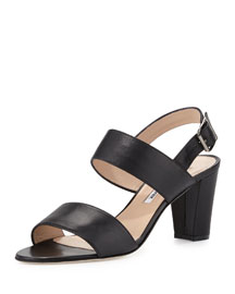 Khans Two-Band Block-Heel Sandal, Black
