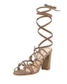 Jena Suede Leg-Wrap Sandal