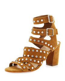 Galia Studded Suede Block-Heel Sandal, Sienna