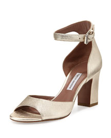 Jerry Leather Ankle-Strap Sandal, Champagne