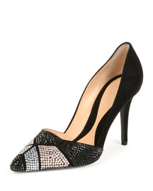 Crystal-Embellished Suede 95mm Pump, Black