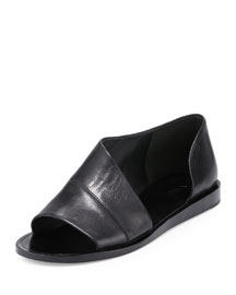 Tabitha Asymmetric Leather Flat, Black
