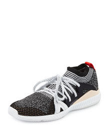 Edge Knit Trainer Sneaker, Gray/White/Red