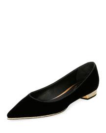 Velvet Point-Toe Jewel-Heel Flat, Black