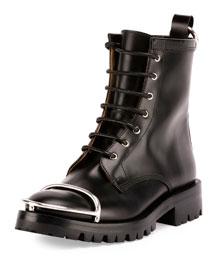 Lyndon Box Calf Combat Boot, Black