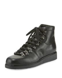 Felisa Lace-Up Leather Combat Boot, Black (Nero)