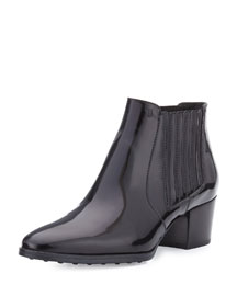 Patent Leather Ankle Bootie, Black
