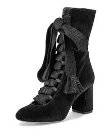 Harper Velvet Lace-Up Boot, Black