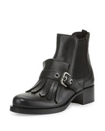 Leather Kiltie-Strap Chelsea Boot, Black (Nero)