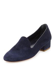 Suede Block-Heel Loafer
