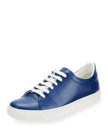 Napa Leather Tennis Sneaker, Blueberry