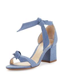 Clarita Suede Block-Heel Sandal, Blue