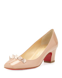Pyramidame Block-Heel Red Sole Pump, Nude/Rose Gold