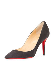 Apostrophy Suede 85mm Red Sole Pump, Fusian Gray
