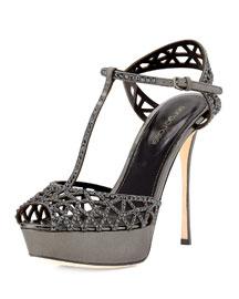 Crystal-Embellished T-Strap Sandal, Black Metallic