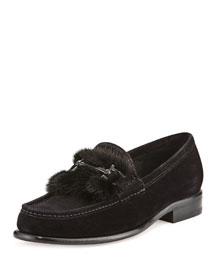 Parigi Mink-Trimmed Loafer, Black (Nero)