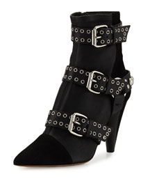 Lysett Studded Leather Ankle Boot, Black