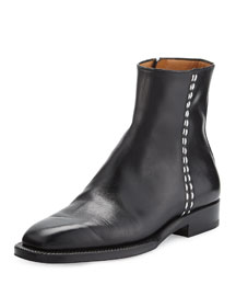 Brion Flat Leather Ankle Boot, Black