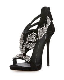 Swarovski® Crystal-Embellished Cage Sandal, Black (Nero)